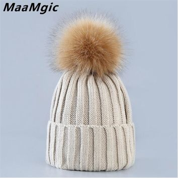 New Fahion mink and fox fur ball cap pom poms winter warm hat for women girl 's hat knitted beanies cap brand thick female hat