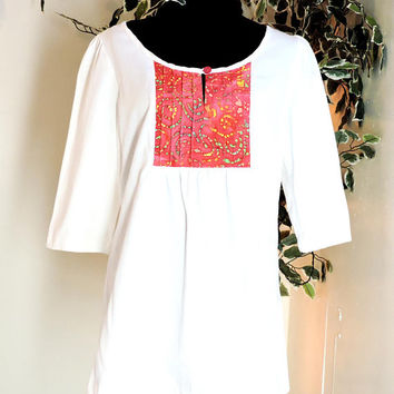 Smock top / size S / M / peasant top / 70s boho tunic top / cotton smocked top / handmade hippie top