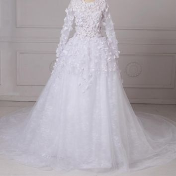 Gorgeous Wedding Dresses Long Sleeves Bridal Gowns with Chapel Train Zipper Back
