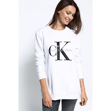 CK Calvin Klein Women Round Neck Top Sweater Pullover Sweatshirt
