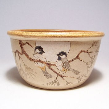 Black Capped Chickadees and Pine Stoneware Serving Bowl 2quart Limited Series 68