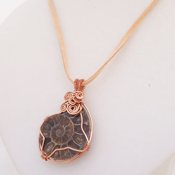 Ammonite Fossil Pendant, Wire Wrapped Fossil Pendant, Fossil Pendant in Cooper, Fossil Jewellery
