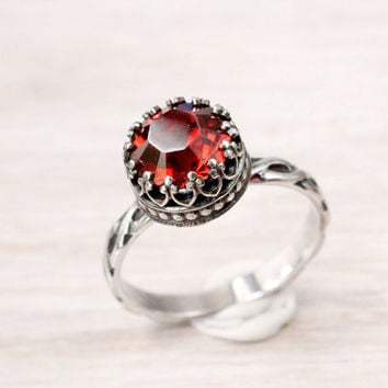 Vintage red ring sterling silver with Swarovski crystal in a crown gallery setting on a floral band handmade