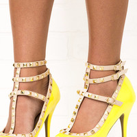Spring Stroll Yellow Studded Peep Toe Strappy Heels