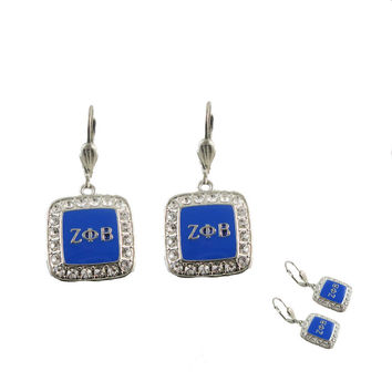 ZETA PHI BETA  Crystal Letters Earrings