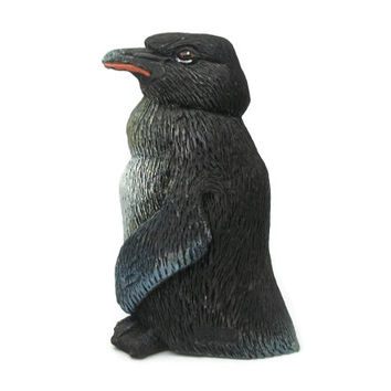 Holland Products Art in Stone Penguin Figurine - Miniature Penguin Collectible Knick Knack - Little Blue Penguin - Black Blue White