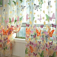 PanDaDa Door Balcony Window Screen Curtain Tulle Panel Butterfly Valance