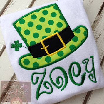 St. Patrick's Day Shirt or bodysuit for girls - Lucky Top Hat - fun leprechaun top hat in lime and emerald green with name