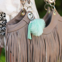 Mint Fur Pom Pom Key Chain
