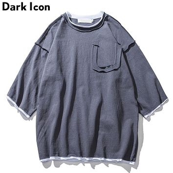 Solid Color Over sized T-shirt Men Three Quarter Sleeve Men's Tee Shirts  Summer Simple Style T shirts Coffee Grey