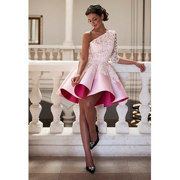 Sexy A Line Lace Pink Short Cocktail Dresses 2017 Elegant Satin Appliques One Shoulder Three Quarter Sleeve New Arrival Gowns