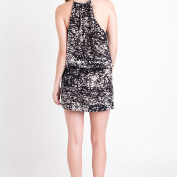 Nili Lotan Halter Dress in Black & Ivory