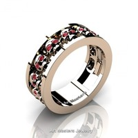Mens Modern 14K Rose Gold Ruby Skull Channel Cluster Wedding Ring R913-14KRGR