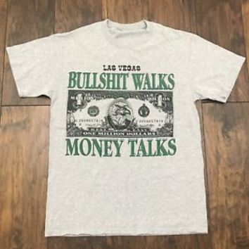 Las Vegas Bullsh*t Walks Money Talks One Million Dollar Bill Shirt Mens Sz Small