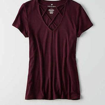 AEO Soft & Sexy Cage Front T-Shirt, Plum