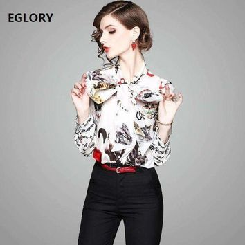 ICIKON3 Letter Print Shirts New Casual Blouse 2018 Spring Summer Women Bow Tie Cute Cat Prints Long Sleeve 100%Silk Shirt Blouses