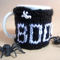 Knitted BOO Halloween Coffee Mug Cozy with Button – Halloween Decor Mug Warmer – Fall Décor Find - Autumn Décor Mug Cover – Coffee Accessory