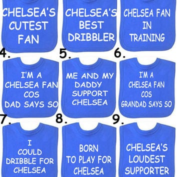 Liverpool Manchester Utd  Spurs  Chelsea Football bib any slogan or DESIGN YOUR OWN