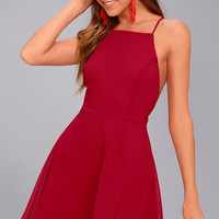 Letter of Love Red Backless Skater Dress