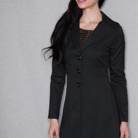 Teen Bell Three Button Notched-Lapel Long Riding Jacket - Black