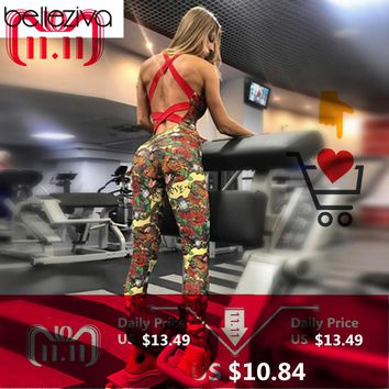 Belleziva One Piece Sexy Gym Clothing Suit Floral Print Backless Padded Yoga Set Fitness Running Tight Dance Sport Wear