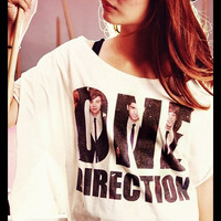 ONE DIRECTION Suit T-Shirt Crop Top Wide Neck Shirt Antique Off White Women Tee Shirt Free Size Fits For S M L XL