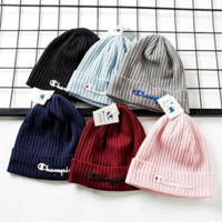 Champion New fashion embroidery letter couple keep warm knit cap