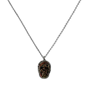 0.59ct Pavé Diamonds in 925 Sterling Silver Leopard Skin Jasper Gemstone Skull Pendant Necklace