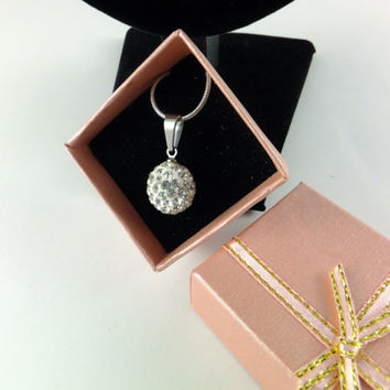Clear Crystal Pave Ball Rhinestone Pendant Necklace Prom Wedding, Disco Ball Swarovski Crystal Silver Toned Chain