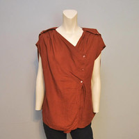 Vintage Max Mara Linen Blouse Italian Puro Lino Burnt Red/Brown Tunic Top Blouse Cap Sleeves Wrap Style Post-Apocolyptic Asymmetrical Large