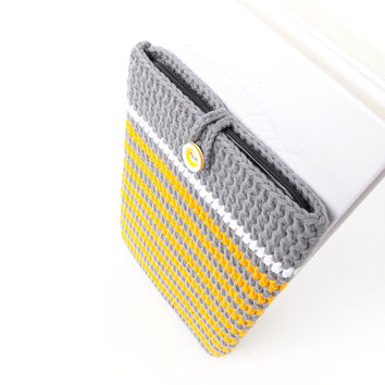 Grey Yellow Nook Glowlight plus cover, Kindle Oasis sleeve, Kobo Touch 2 pouch, Tolino Vision 3HD case, Nook cozy, grey rib ereader cover
