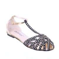 Rhinestone Caged Ankle Jeweled Cut Out Caged Flat Sandal