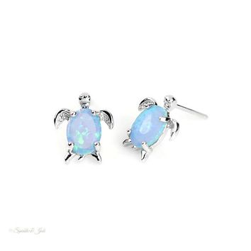 Sterling Silver Blue Created Opal Turtle Post Stud Earrings
