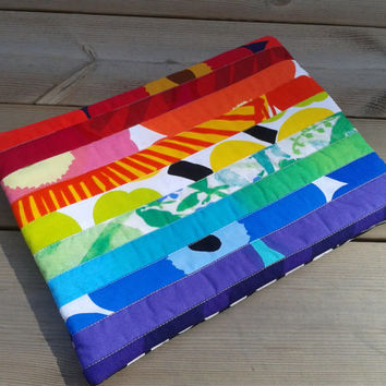 Marimekko Macbook cover, Macbook 13 sleeve, Laptop Case, padded laptop bag, fabric laptop cover, custom Macbook case, Rainbow colors