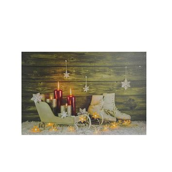 "Small LED Lighted Candles  Ice Skates and Sleigh Christmas Canvas Wall Art 12"" x 15.75"""