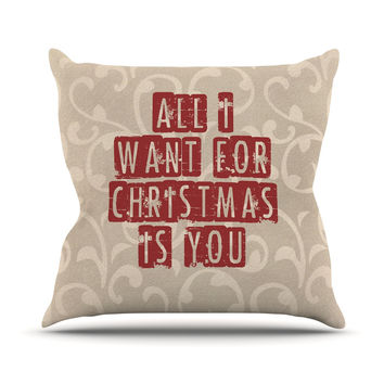 "Sylvia Cook ""All I Want For Christmas"" Holiday Outdoor Throw Pillow"