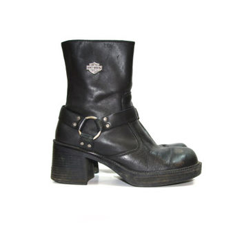 Black Boots Harness Boots Harley Davidson Boots Women's Harness Boots Motorcycle Boots Leather Harness Boots Size 8 9