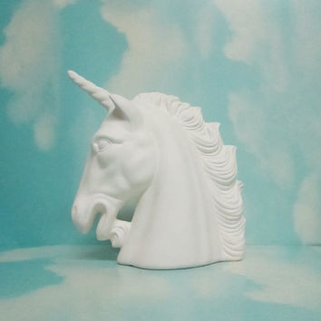 ceramic bisque unicorn hose head Upaint.ready to paint-This Beautiful  ceramic bisque unicorn hose head is in stock and ready to ship!
