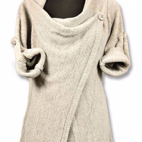 Beige Long Sleeve Asymmetrical Sweater Dress