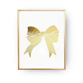 Gold Bow Print, Hair Bow Print, Real Gold Foil Print, Bow Poster, Gold Foil, Girl Decor, Bow Wall Decor, Bedroom Poster, Girl Room Decor