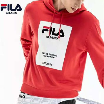 FILA 2018 winter new sports casual long-sleeved hooded pullover sweater red