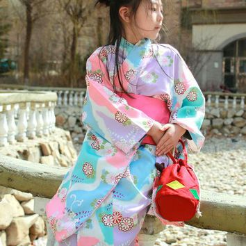 Child Japanese Traditional Kimono with Obi Girl Floral Kimono Dress Vintage Novelty Kids Dance cosplay Costumes full set A60606