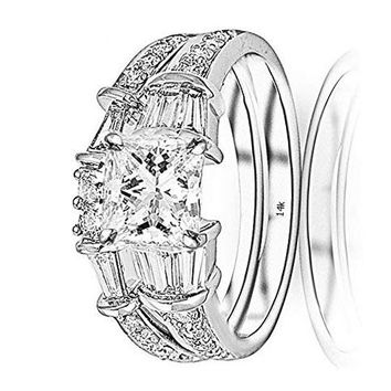 c.1.75 Carat 14K White Gold Baguette Round GIA Certified Princess Cut Diamond Engagement Ring Wedding Bridal Band Set (1 Ct K Color VS1 Clarity Center Stone)