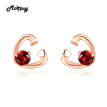 MoBuy MBEI026 Sweet Love Heart Natural Gemstone Red Garnet Stud Earrings 925 Sterling-Silver-Jewelry Rose Gold Plated For Women