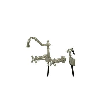 Elements of Design Heritage Double Handle Wall Mount Bridge Kitchen Faucet with Metal Cross Handles and Side Spray