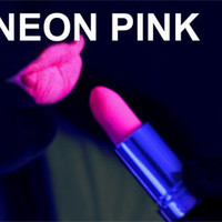 UV NEON PINK LIPSTICK, FLUORESCENT UNDER BLACKLIGHT, RAVE, CLUB, STAGE, DISCO