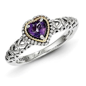 925 Sterling Silver 14KY Genuine Amethyst Heart Ring