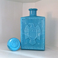 Vintage Blue Eagle Bottle - Decanter - Flask - Vase 1969 with Stopper
