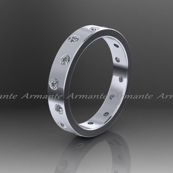 Diamond Band, Wedding Band, 14k White Gold Eternity Ring, Promise Ring, Right Hand Ring. Re0003