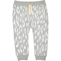 River Island Mini girls grey leopard print skinny joggers